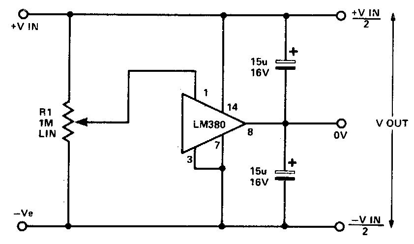 simple split rail power supply based lm380