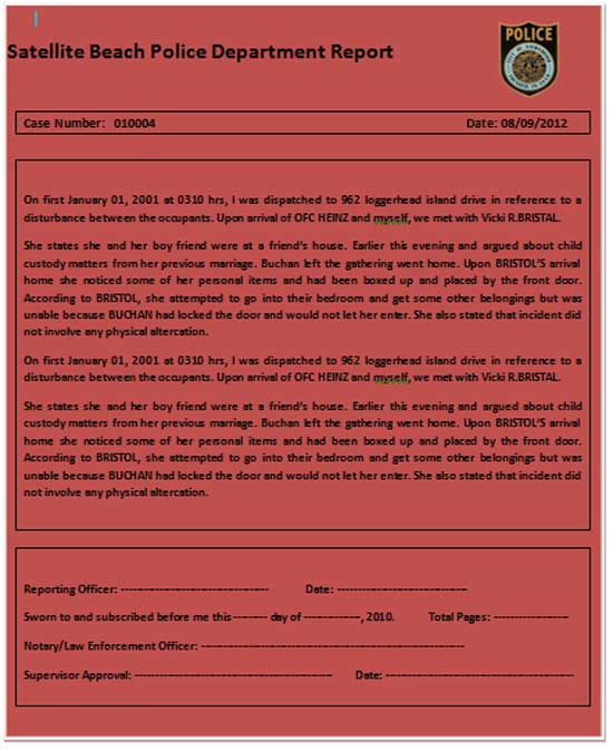 Champlain College Publishing  Police Reports Template