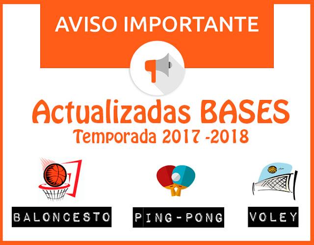 ACTUALIZADAS BASES: BALONCESTO, TENIS DE MESA Y VOLEY Temporada 2017-2018