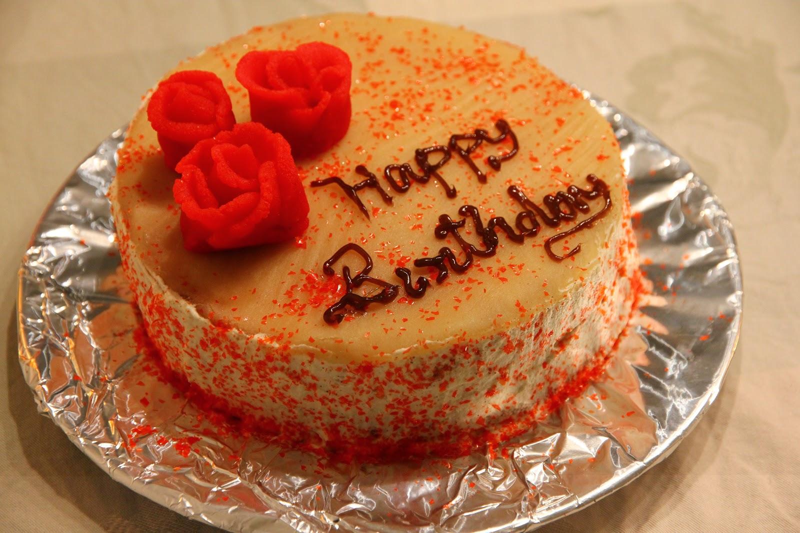 Veggi Fare Vanilla Cake With Cream And Marzipan Happy Birthday Hubby
