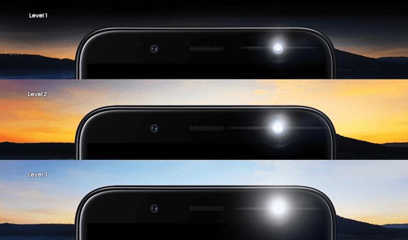 3 levels of selfie flash
