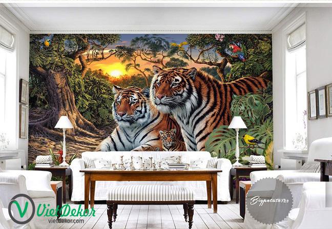 Tranh 3d dán tường hổ trong rừng