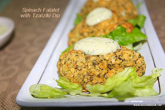 EzCookBook: Baked Spinach Falafel | Spinach Falafel Sandwich with Tzatziki Sauce
