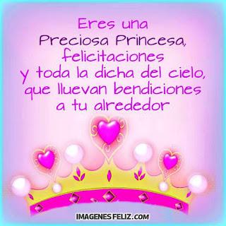 Feliz Cumpleaños Princesa. Tarjetita con dibujo de corona y corazones