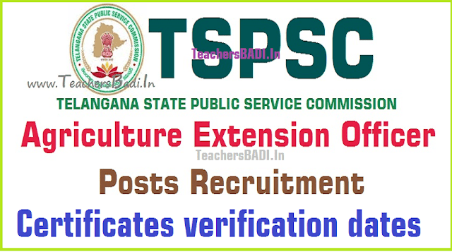 TSPSC,AEOs,Certificates verification dates for Agricultural extension officers 2016