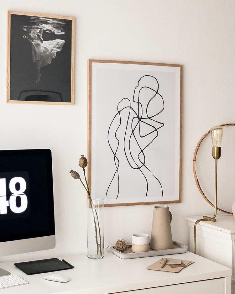My bedroom home office and new art prints by Desenio