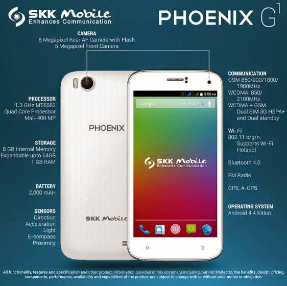 SKK Mobile Phoenix G1: 5-inch, Quad Core, 1GB RAM, 8GB ROM for only Php3,799