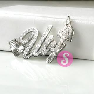 kalung nama monel silver grafir - uty