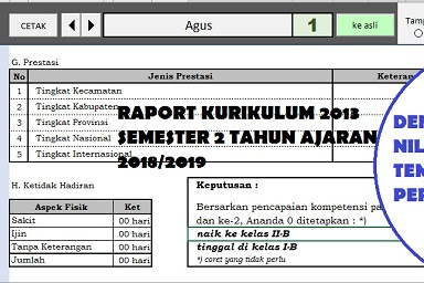 Raport Kurikulum 2013 Kelas 1 S.D 6 SD Semester 2 Tahun 2019