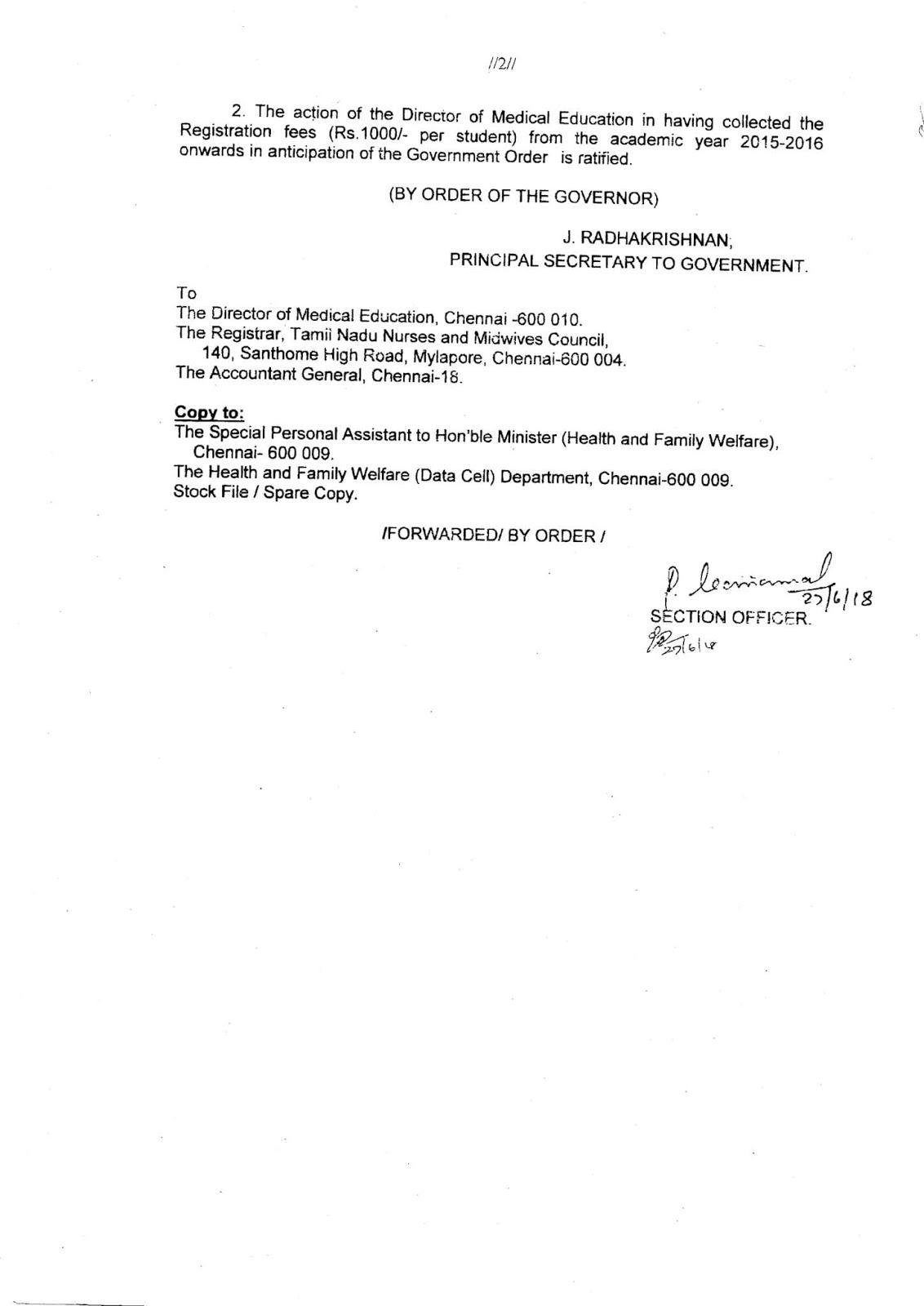 Tamilnadu Government Nursing Tutors Association: DME Notification