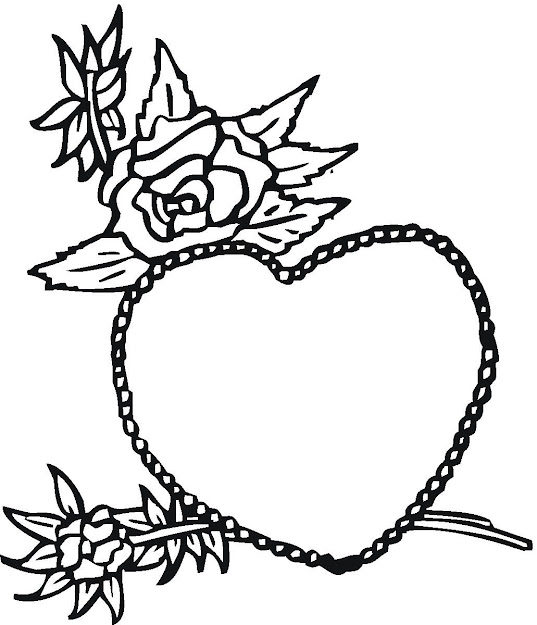 Rose And Heart Coloring Pages