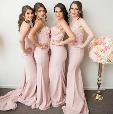 Pink Mermaid 3D-Floral-Appliques Spaghettis-Straps Bridesmaid Dresses