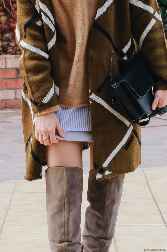 Japanese Fashion Blogger,MizuhoK,20180225OOTD,ZAFUL=long cardigan,OLIVE des OLIVE=purple stripe shirt,ZARA=knit pullover,SheIn=purple gray mini skirt,HONEY FLASH=over the knee boots,LIGHT IN THE BOX=bag,3COINS=earrings