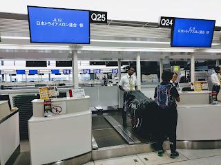 日本代表専用の空港チェックインカウンター