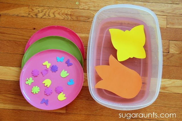 Play date activity with a sensory and fine motor Spring theme.