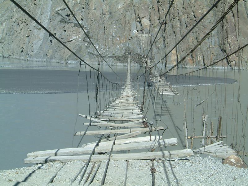 Hussaini suspension bridge, Passu, Pakistan