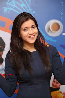 Actress Mannara Chopra Stills in Blue Short Dress at Rogue Song Launch at Radio City 91.1 FM  0001.jpg