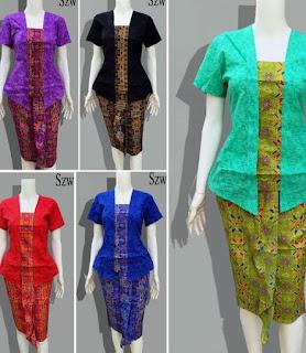 Model Baju Batik Setelan kombinasi terbaru