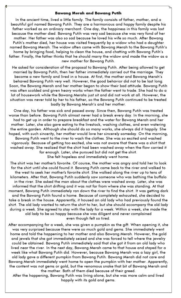 Cerita Bawang Merah Bawang Putih Inggris