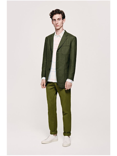 Jijibaba green tweed jacket, shirt and olive chinos