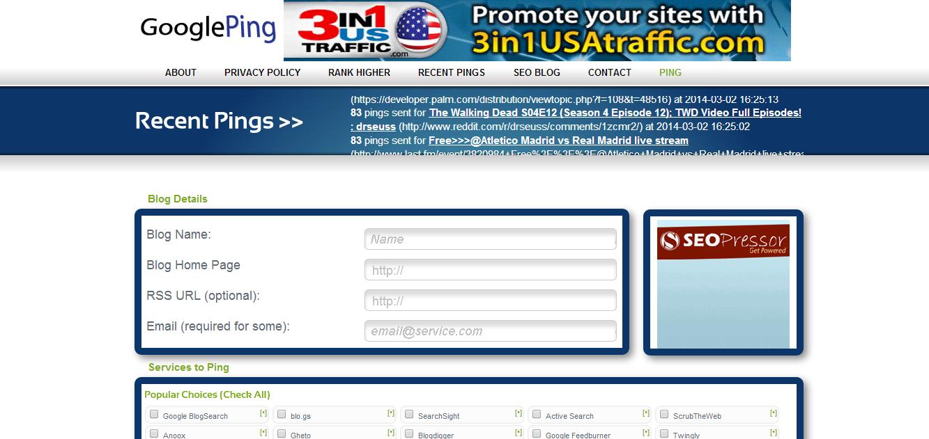 http://www.googleping.com টপটেন পিং সার্ভিস সাইট লিংক দেখেনিন এখনই নতুন ব্লগার এবং ওয়েবমাস্টারদের জন্য