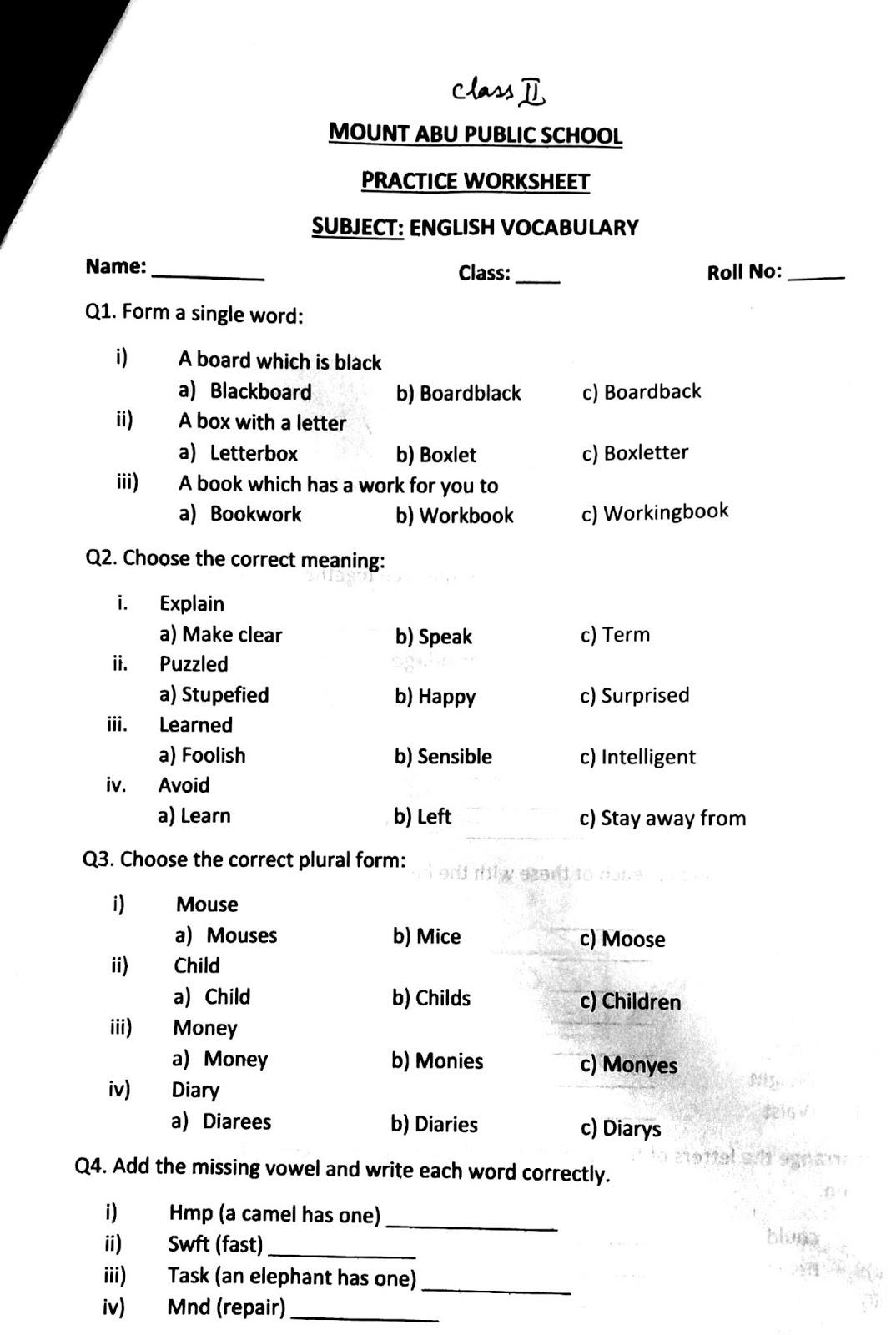 English Primary Classes Practice Worksheet Class Ii
