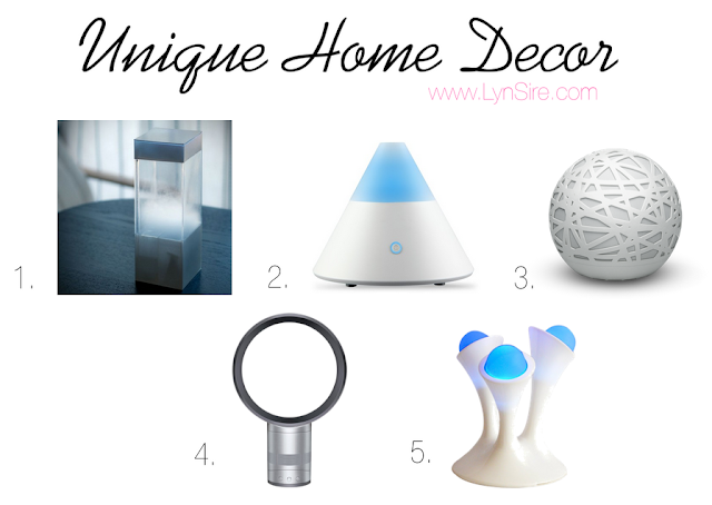 Unique Home Decor, fun gadgets, cool decor items, Tempescope, Diffuser, Dyson Fan, Glo Nightlight