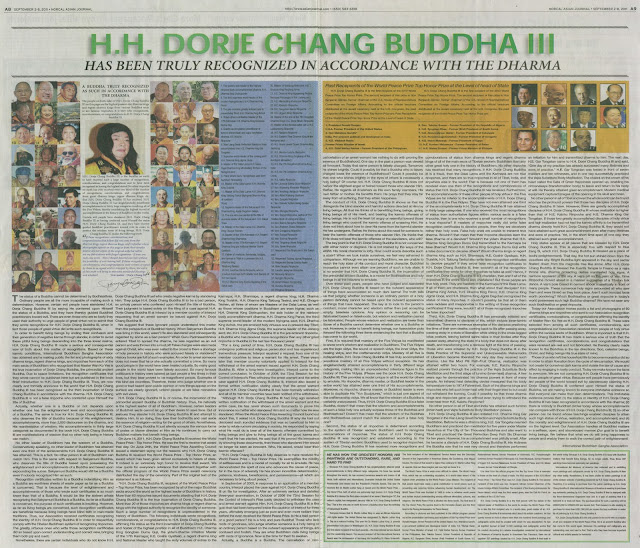 H.H. DORJE CHANG BUDDHA III HAS BEEN TRULY RECOGNIZED IN ACCORDANCE WITH THE DHARMA