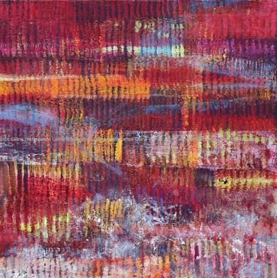 Tableau, abstrait, rouge