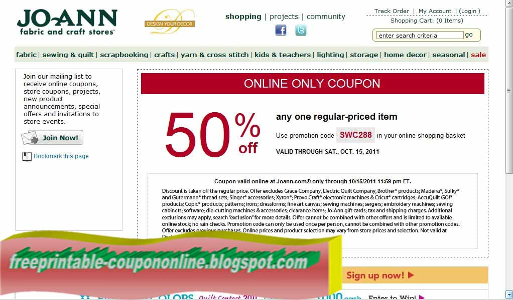Printable Coupons 2018: Joann Coupons