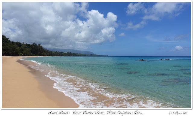 Secret Beach: Coral Castles Under. Cloud Sculptures Above.