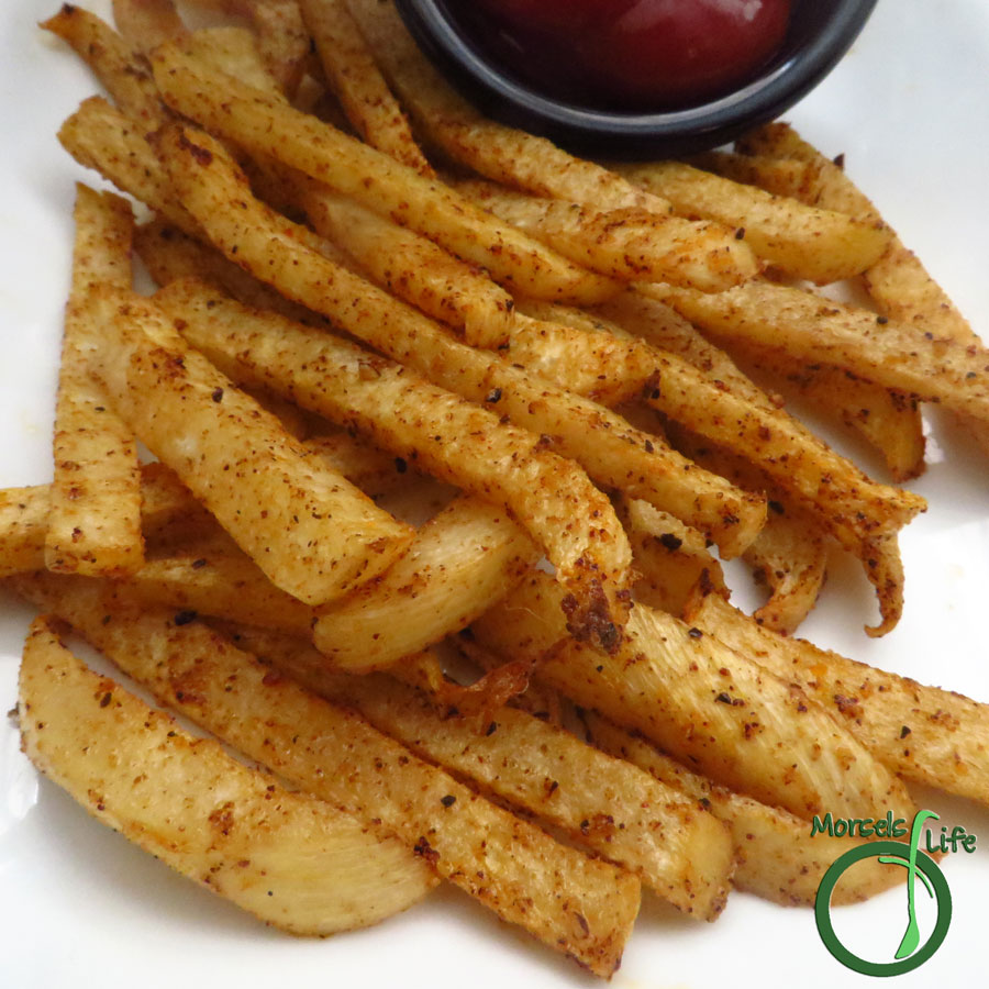 Morsels of Life - Chipotle Jicama Fries - Jicama, seasoned with a delightful chipotle blend and baked into some scrumptious chipotle jicama fries.