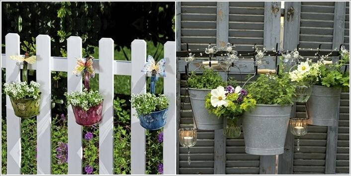 Hàng rào nhà ống đẹp cùng những xô kim loại