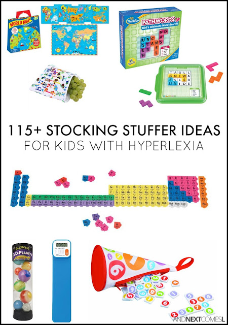 Christmas stocking stuffer ideas for kids with hyperlexia - alphabet, numbers, geography, space, & periodic table gift ideas from And Next Comes L