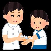 採血のイラスト(学校の健康診断・女の子)
