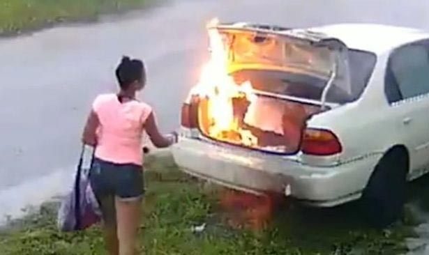 Lady sets cheating boyfriend's car on fire & then realizes it's a wrong car