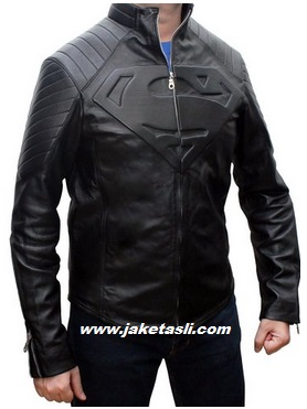 Gambar jaket kulit logo man of steel superman hitam