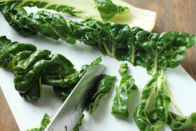 slicing leaves of swiss chard with knife