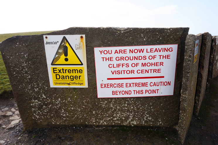 The Cliffs of Moher warning