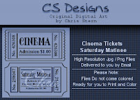 Cinema, Silver Screen, and Matinee Ticket Digital Stamp Colleciton