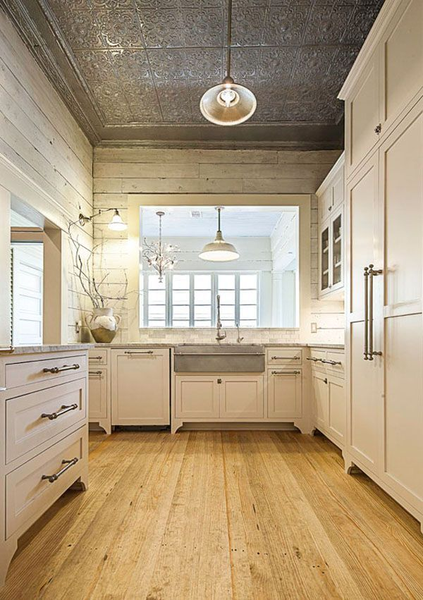 Ceiling Designs Neutral Kitchen with Cabinets Pendant Light Embellished Rustic Wood Statement Sink