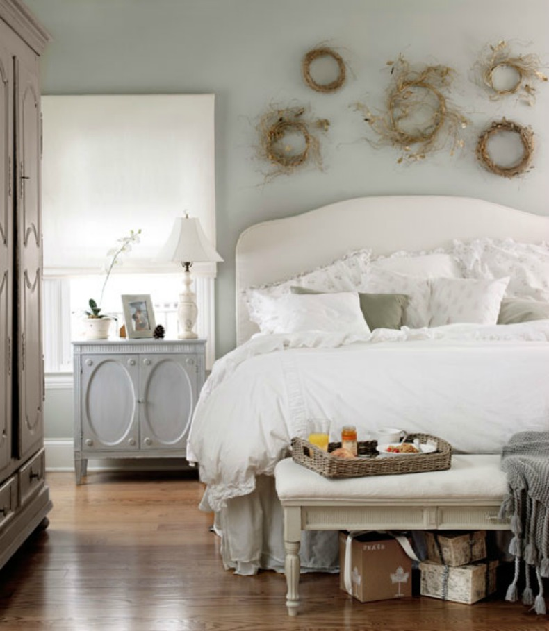 Soft robins egg walls with full white shabby bedding create a cozy ...
