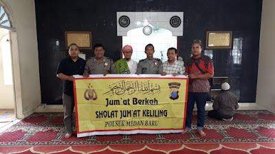 Jum'at Keliling Unit Binmas Polsek Medan Baru Sampaikan Pesan Kamtibmas Di Mesjid Al Anas Medan