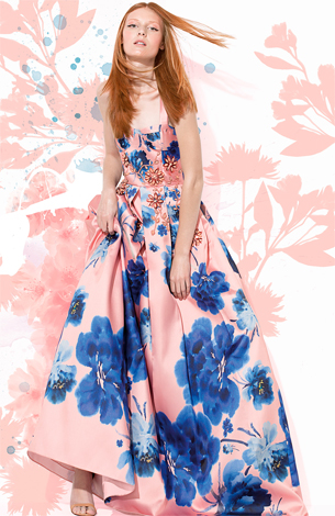 Patricia Bonaldi vestido de festa longo estampado e detalhes de flores bordados