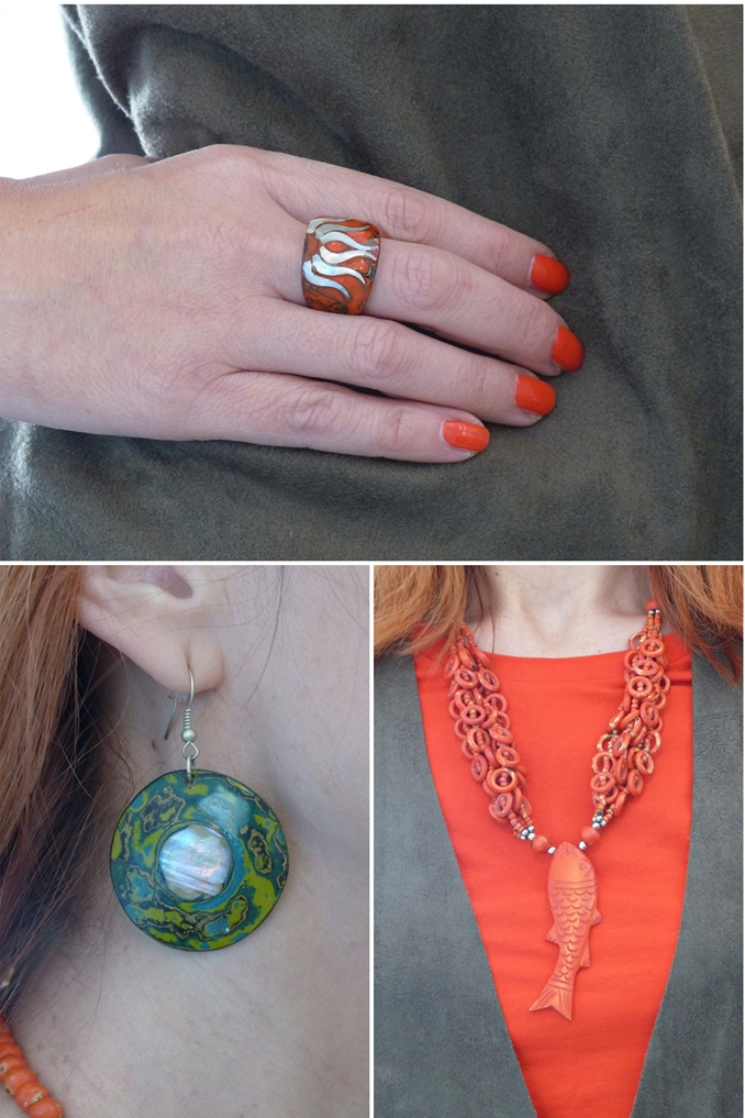 Lacquered coconut ring and earrings, orange fish necklace
