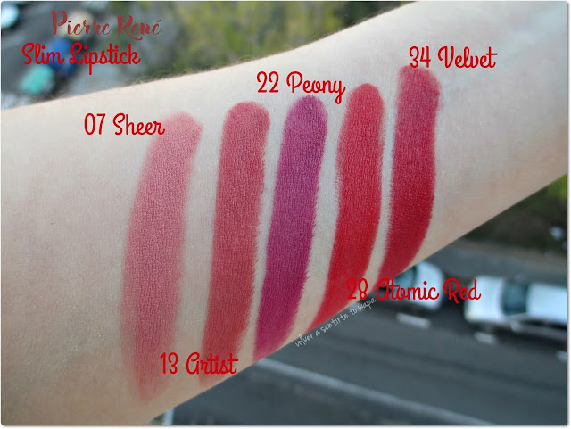 Slim Lipstick de Pierre René: swatches