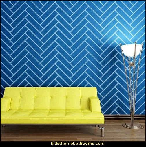 Herringbone Pattern Wall Stencil