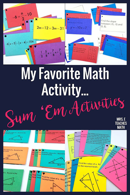 I love using Sum 'Em activities in the classroom!  Not only do they help my middle school and high school math students review the topics learned in class, but they also work on persistence and communication.  They are well worth the class time!  #mathactivity