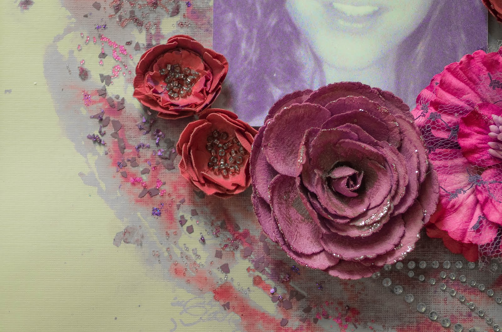 Purple and pink mixed media scrapbook layout on kraft background with handmade and Prima flowers, crystal flourish, watercolors