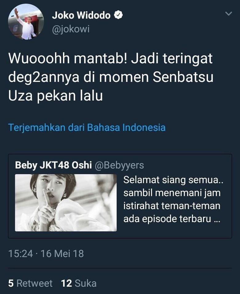 Twit admin Twitter @Jokowi yang jadi masalah